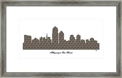 Albuquerque New Mexico 3d Stone Wall Skyline Framed Print