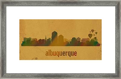 Albuquerque New Mexico City Skyline Watercolor On Parchment Framed Print