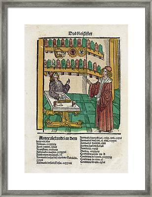 Alchemist With His Student Framed Print by National Library Of Medicine