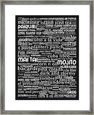 Alcoholic Beverages - Rum 20130627bw Framed Print