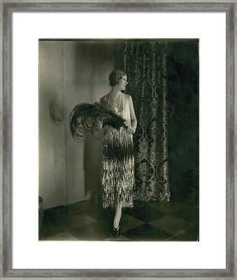 Alden Gay Wearing A Chanel Dress Framed Print