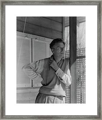 Aldous Huxley On A Porch Framed Print by George Platt Lynes