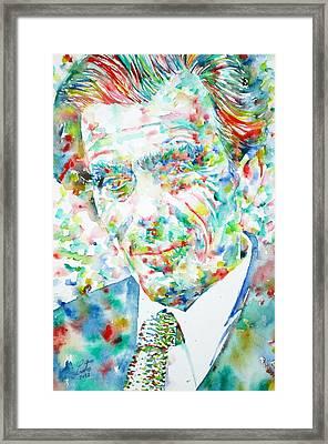 Aldous Huxley - Watercolor Portrait Framed Print by Fabrizio Cassetta