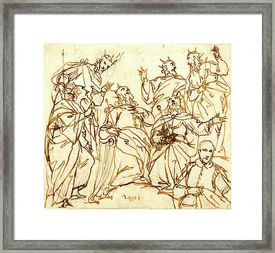 Alessandro Maganza, Italian 1556-1640, Six Kings And A Donor Framed Print