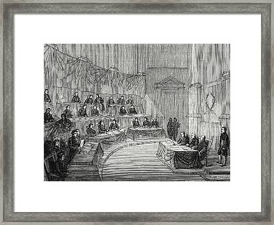 Alessandro Volta Reads Before The Academy Of Science Framed Print