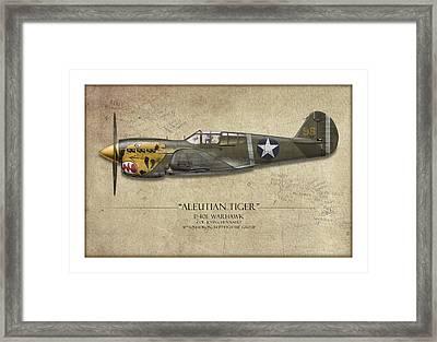 Aleutian Tiger P-40 Warhawk - Map Background Framed Print by Craig Tinder