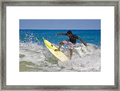 Alex 16 Year Old Pro Surfer Framed Print by John Lee Montgomery III