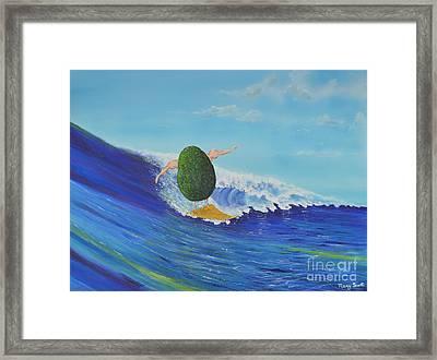 Alex The Surfing Avocado Framed Print