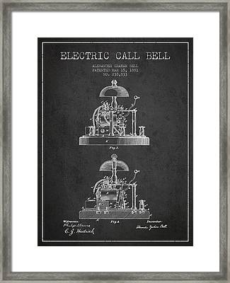Alexander Bell Electric Call Bell Patent From 1881 - Dark Framed Print