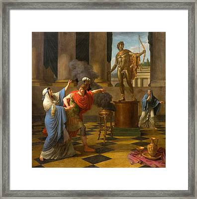 Alexander Consulting The Oracle Of Apollo Framed Print by Louis-Jean-Francois Lagrenee