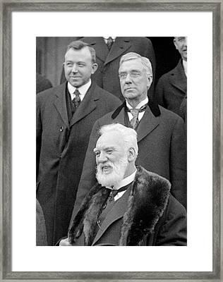 Alexander G Bell And Thomas Watson Framed Print