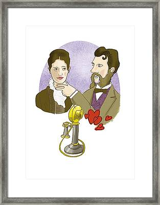 Alexander G. Bell With His Future Wife Framed Print by Science Photo Library