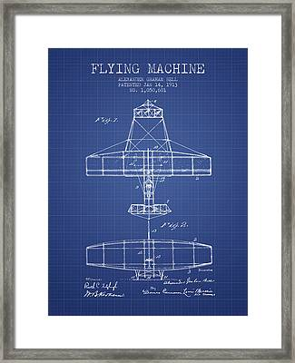 Alexander Graham Bell Flying Machine Patent From 1913 - Blueprin Framed Print by Aged Pixel