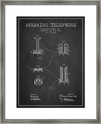 Alexander Graham Bell Speaking Telephone Patent From 1878 - Dark Framed Print