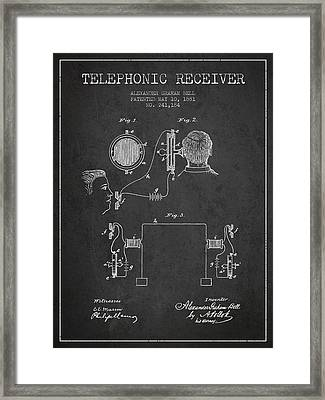 Alexander Graham Bell Telephonic Receiver Patent From 1881- Dark Framed Print by Aged Pixel