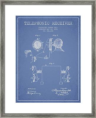 Alexander Graham Bell Telephonic Receiver Patent From 1881- Ligh Framed Print