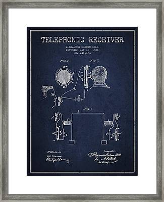 Alexander Graham Bell Telephonic Receiver Patent From 1881- Navy Framed Print