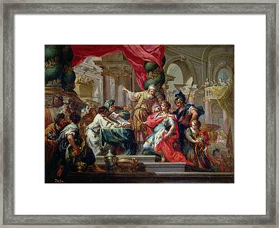 Alexander The Great In The Temple Of Jerusalem, C.1750 Oil On Canvas Framed Print by Sebastiano Conca