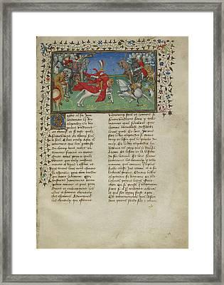 Alexander Unhorses Porrus Framed Print by British Library