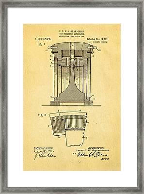 Alexanderson Altenator Patent Art 1911  Framed Print by Ian Monk