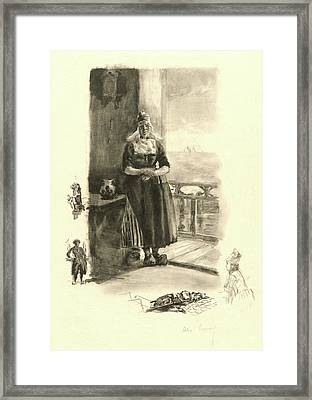 Alexandre Lunois French, 1836 - 1916. Au Bord De Zuyder Zee Framed Print by Litz Collection