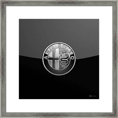 Alfa Romeo - Silver 3d Badge On Black Framed Print by Serge Averbukh