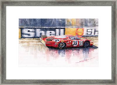 Alfa Romeo T33 B2 Le Mans 24 1968 Galli Giunti Framed Print by Yuriy  Shevchuk