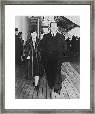 Alfred Hitchcock And His Wife, Alma Framed Print