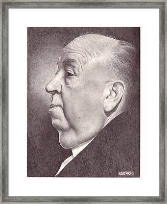 Alfred Hitchcock Portrait Drawing Framed Print by Matt Meyer