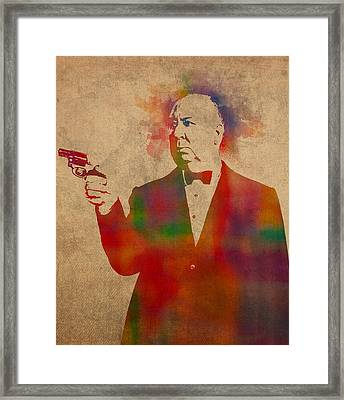 Alfred Hitchcock Watercolor Portrait On Worn Parchment Framed Print by Design Turnpike