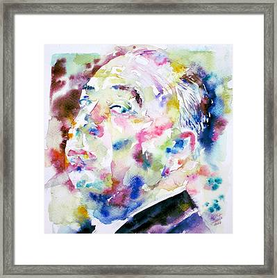 Alfred Hitchcock Watercolor Portrait.1 Framed Print by Fabrizio Cassetta