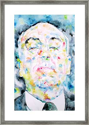 Alfred Hitchcock Watercolor Portrait.2 Framed Print by Fabrizio Cassetta