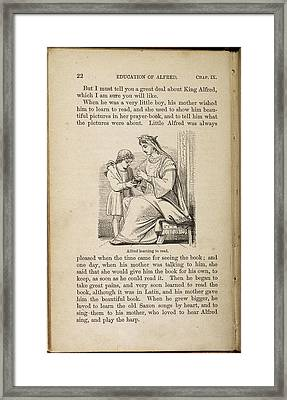 Alfred Learning To Read Framed Print by British Library
