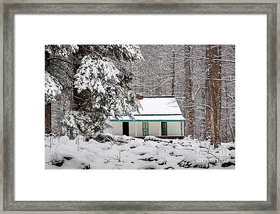 Framed Print featuring the photograph Alfred Reagan's Home In Snow by Debbie Green