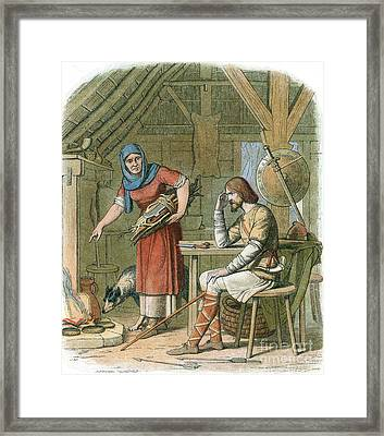 Alfred The Great, Legend Of The Cakes Framed Print by Photo Researchers