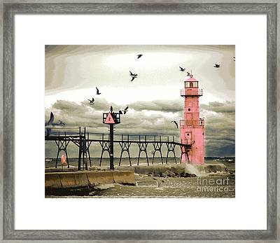 Algoma Pierhead Lighthouse Framed Print by Wernher Krutein
