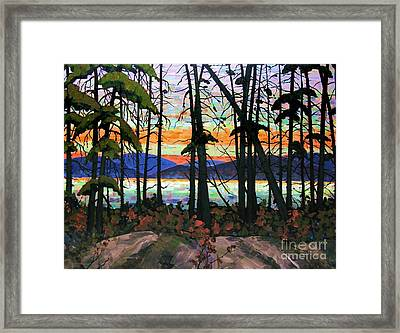 Algoma Sunset Acrylic On Canvas Framed Print