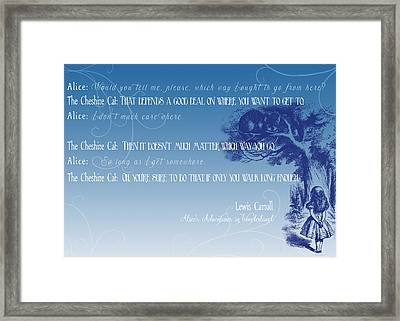 Alice And The Cheshire Cat Framed Print by Heather Applegate
