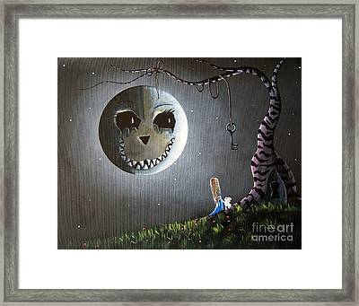 Alice In Wonderland Original Artwork - Alice And The Cheshire Moon Framed Print by Shawna Erback