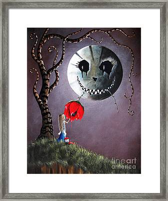 Alice In Wonderland Original Artwork - Alice And The Dripping Rose Framed Print by Shawna Erback