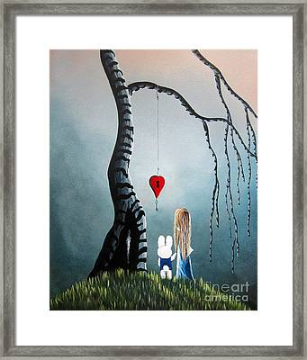 Alice In Wonderland Original Artwork - Alice And The Enchanted Key Framed Print