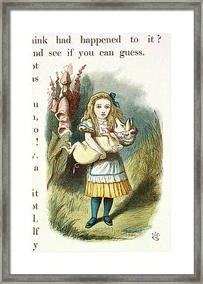 Alice And The Pig-baby Framed Print by British Library