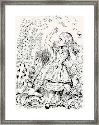 Alice Attacked By Cards Framed Print