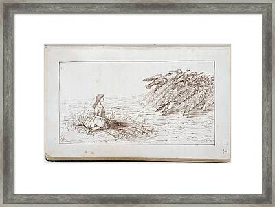 Alice Frightens Away The Birds Framed Print by British Library