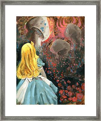 Alice In Mushroom Acres Framed Print