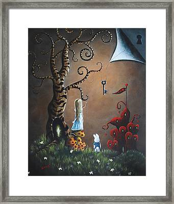 Alice In Wonderland Original Artwork - Key To Wonderland Framed Print by Shawna Erback