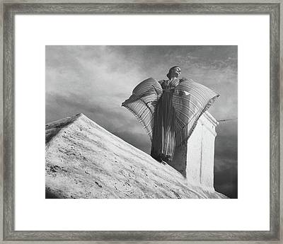 Alice-leone Moats Wearing A Striped Dress Framed Print