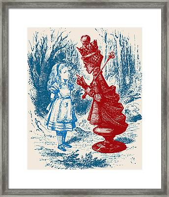 Alice Meeting The Red Queen Framed Print by