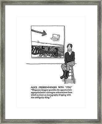 Alice Steddemminger With Stig Disparate Imagery Framed Print by Michael Crawford