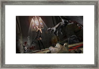 Alice Vs The Zombie Apocalypse Framed Print by Brandon Freer